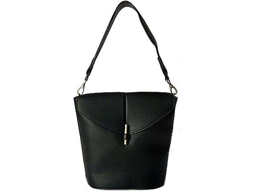 DESIGNER STYLE SMALL BLACK WIDE STRAP HANDBAG WITH LONG CROSS-BODY STRAP