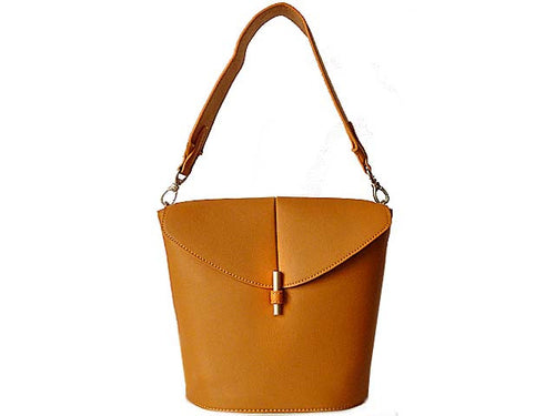 DESIGNER STYLE SMALL TAN WIDE STRAP HANDBAG WITH LONG CROSS-BODY STRAP
