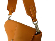 A-SHU DESIGNER STYLE SMALL TAN WIDE STRAP HANDBAG WITH LONG CROSS-BODY STRAP - A-SHU.CO.UK