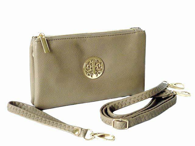 A-SHU SMALL MULTI-COMPARTMENT CROSS-BODY PURSE BAG WITH WRIST AND LONG STRAPS - LIGHT GREY - A-SHU.CO.UK