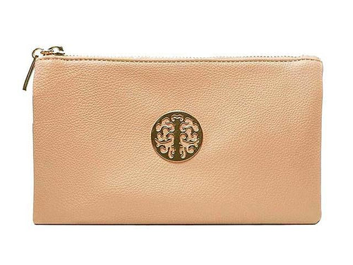 A-SHU SMALL MULTI-COMPARTMENT CROSS-BODY PURSE BAG WITH WRIST AND LONG STRAPS - LIGHT PINK - A-SHU.CO.UK