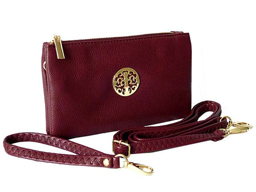 A-SHU SMALL MULTI-COMPARTMENT CROSS-BODY PURSE BAG WITH WRIST AND LONG STRAPS - MAROON - A-SHU.CO.UK