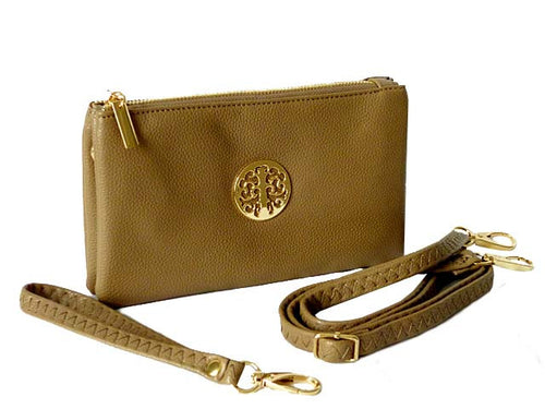 SMALL MULTI-COMPARTMENT CROSS-BODY PURSE BAG WITH WRIST AND LONG STRAPS - TAUPE