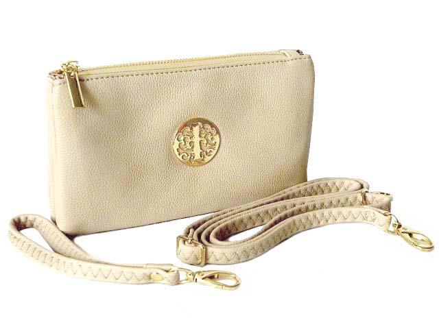 A-SHU SMALL MULTI-COMPARTMENT CROSS-BODY PURSE BAG WITH WRIST AND LONG STRAPS - WHITE - A-SHU.CO.UK