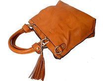 SMALL TAN MULTI-COMPARTMENT TASSEL HANDBAG WITH LONG SHOULDER STRAP