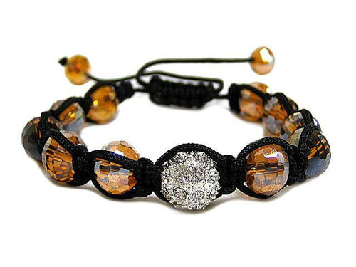 AMBER MULTI-FACTED SHAMBALLA BRACELET WITH CLEAR CRYSTAL BALL