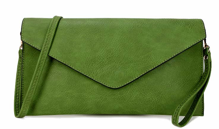 A-SHU LARGE APPLE GREEN OVERSIZED ENVELOPE CLUTCH BAG WITH WRISTLET AND LONG CROSSBODY SHOULDER STRAP - A-SHU.CO.UK