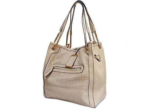 A-SHU BEIGE 2-WAY TOTE HANDBAG / HOLDALL HANDBAG WITH LONG SHOULDER STRAP - A-SHU.CO.UK