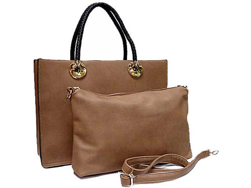 A-SHU BEIGE 2 PIECE BAG SET WITH DETACHABLE INNER BAG AND LONG STRAP - A-SHU.CO.UK