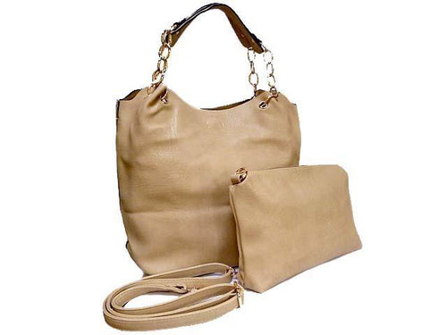 BEIGE CHAIN DESIGN TOTE HANDBAG SET WITH DETACHABLE INTERNAL BAG AND LONG STRAP