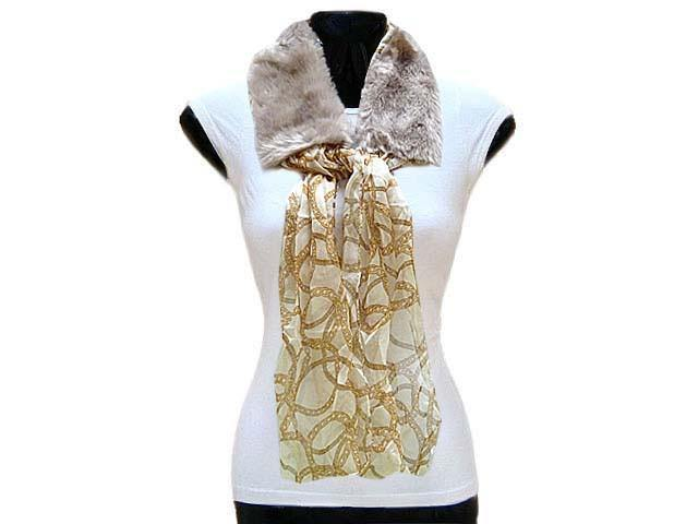 A-SHU BEIGE FAUX FUR LAPEL COLLAR WITH CHAIN PRINT SCARF - A-SHU.CO.UK