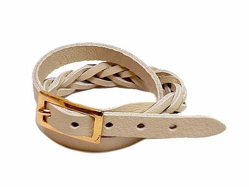 BEIGE GENUINE LEATHER WRAP AROUND WOVEN WRIST STRAP BRACELET