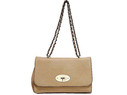 A-SHU ORDER BY REQUEST - BEIGE LEATHER EFFECT CLASSIC SHOULDER HANDBAG WITH CHAIN LINKED STRAP - A-SHU.CO.UK