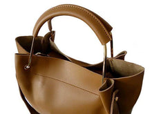 BEIGE LEATHER EFFECT HOLDALL HANDBAG WITH INNER POUCH AND LONG STRAP
