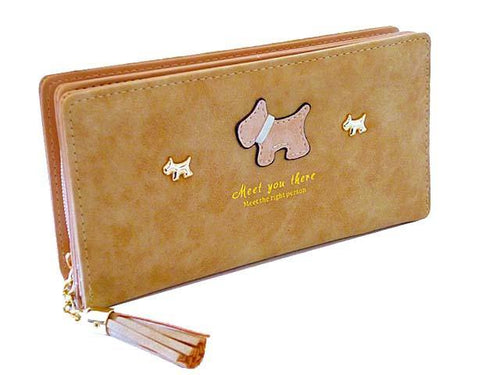 A-SHU BEIGE MULTI-COMPARTMENT DOG PURSE WALLET WITH TASSEL - A-SHU.CO.UK