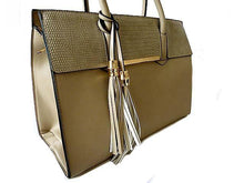 A-SHU BEIGE MULTI-COMPARTMENT TASSEL HANDBAG WITH LONG SHOULDER STRAP - A-SHU.CO.UK