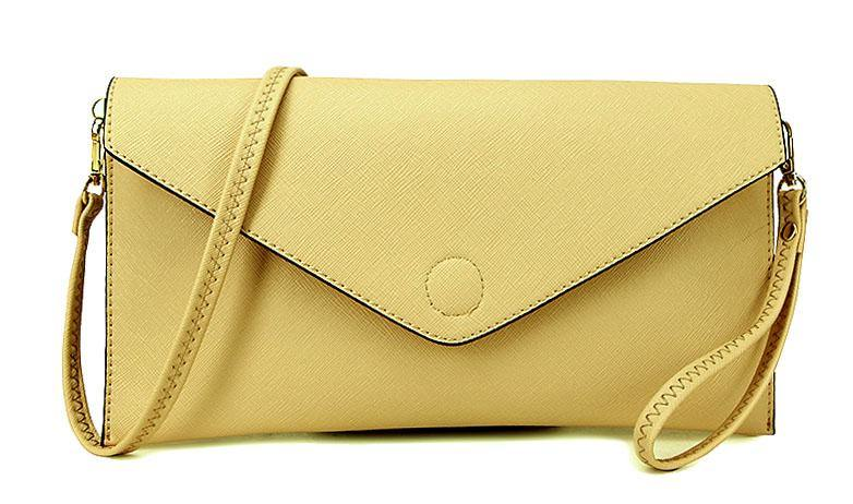 A-SHU BEIGE OVER-SIZED ENVELOPE CLUTCH BAG WITH LONG CROSS BODY AND WRISTLET STRAPS - A-SHU.CO.UK