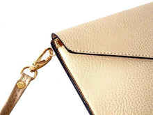 A-SHU BEIGE OVER-SIZED ENVELOPE CLUTCH BAG WITH LONG CROSS BODY AND WRISTLET STRAP - A-SHU.CO.UK