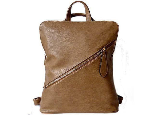 A-SHU BEIGE SLIM-LINE LEATHER EFFECT BACKPACK / HOLDALL HANDBAG - A-SHU.CO.UK