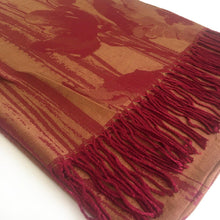 A-SHU BERRY BRONZE REVERSIBLE PASHMINA SHAWL SCARF IN ABSTRACT FLORAL PRINT - A-SHU.CO.UK