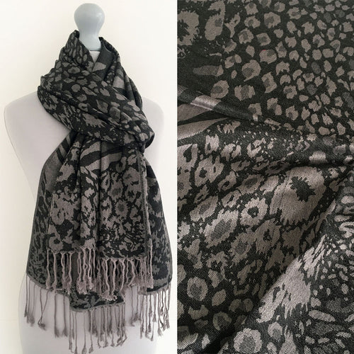 A-SHU BLACK LARGE LEOPARD PRINT REVERSIBLE PASHMINA SHAWL SCARF - A-SHU.CO.UK