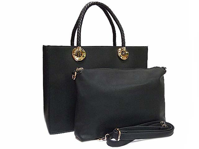 A-SHU BLACK 2 PIECE BAG SET WITH DETACHABLE INNER BAG AND LONG STRAP - A-SHU.CO.UK