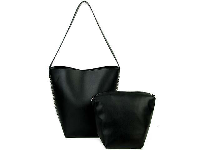 A-SHU BLACK CHAIN SHOULDER BAG SET WITH SMALL CROSSBODY BAG AND LONG STRAP - A-SHU.CO.UK