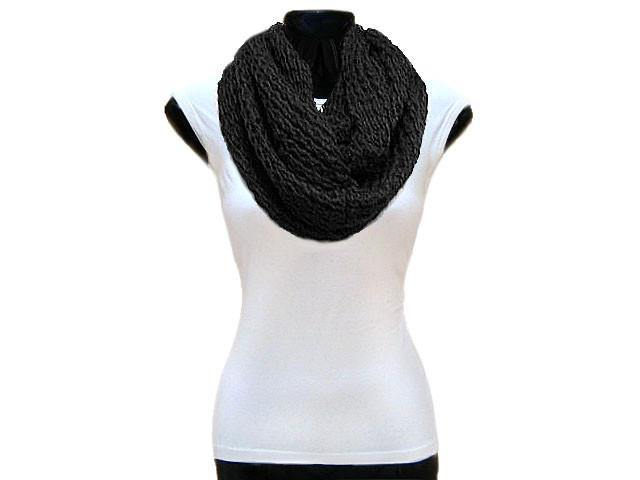 A-SHU BLACK CHUNKY KNIT SNOOD SCARF - A-SHU.CO.UK