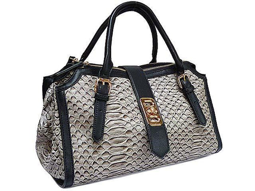 A-SHU BLACK CROCODILE PRINT MULTI-COMPARTMENT HANDBAG - A-SHU.CO.UK
