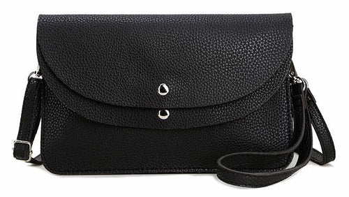 A-SHU BLACK ENVELOPE MULTI-POCKET CLUTCH BAG WITH WRISTLET AND LONG SHOULDER STRAP - A-SHU.CO.UK