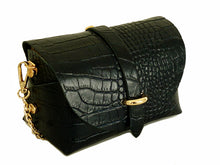BLACK GENUINE LEATHER CROC PRINT CROSS BODY BAG WITH CHAIN STRAP