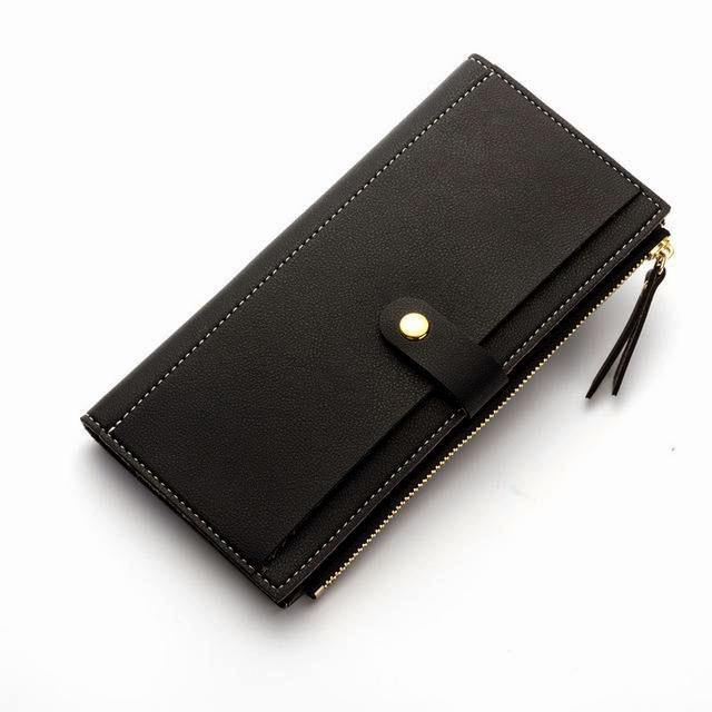 A-SHU BLACK FAUX LEATHER SLIM MULTI-COMPARTMENT PURSE WALLET WITH MOBILE PHONE SLOT - A-SHU.CO.UK