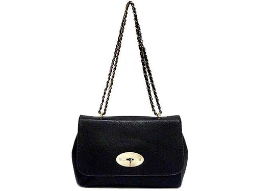 A-SHU ORDER BY REQUEST - BLACK LEATHER EFFECT CLASSIC SHOULDER HANDBAG WITH CHAIN LINKED STRAP - A-SHU.CO.UK