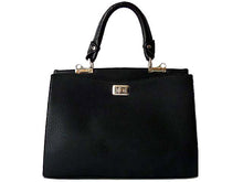 A-SHU BLACK LEATHER EFFECT DOUBLE SIDED HOLDALL HANDBAG WITH LONG SHOULDER STRAP - A-SHU.CO.UK