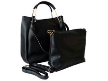 A-SHU BLACK LEATHER EFFECT HOLDALL HANDBAG WITH INNER POUCH AND LONG STRAP - A-SHU.CO.UK