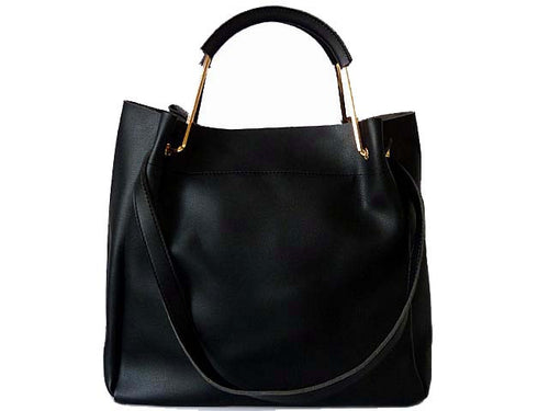 BLACK LEATHER EFFECT HOLDALL HANDBAG WITH INNER POUCH AND LONG STRAP