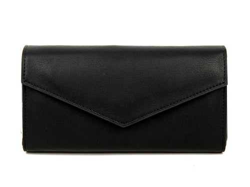 BLACK LEATHER EFFECT MULTI-COMPARTMENT PURSE WITH WRIST STRAP