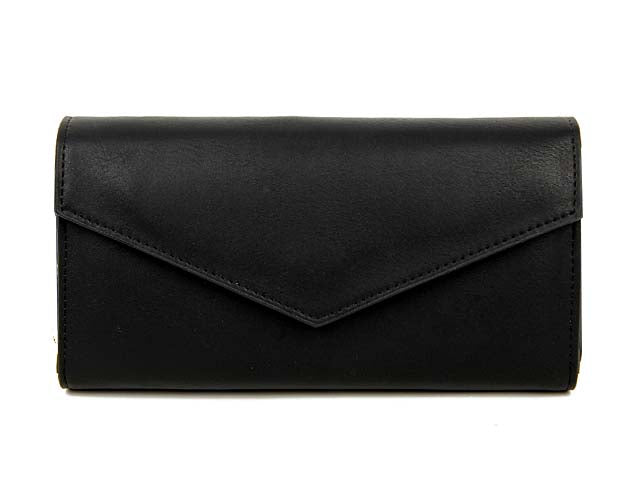 A-SHU BLACK LEATHER EFFECT MULTI-COMPARTMENT PURSE WITH WRIST STRAP - A-SHU.CO.UK