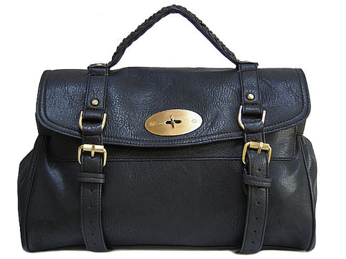 CLASSIC BLACK SATCHEL HANDBAG WITH LONG SHOULDER STRAP