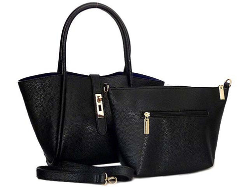 BLACK LEATHER EFFECT TOTE HANDBAG SET WITH DETACHABLE INTERNAL BAG AND LONG STRAP