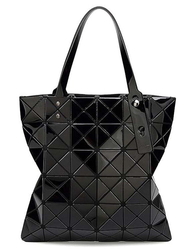A-SHU BLACK LUMINOUS LASER CUT HOLOGRAPHIC GEOMETRIC TOTE HANDBAG - A-SHU.CO.UK