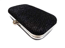 A-SHU BLACK METALLIC HARDBACK CLUTCH BAG WITH LONG AND SHORT CHAIN STRAPS - A-SHU.CO.UK