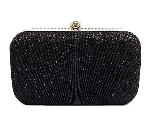 BLACK METALLIC HARDBACK CLUTCH BAG WITH LONG AND SHORT CHAIN STRAPS