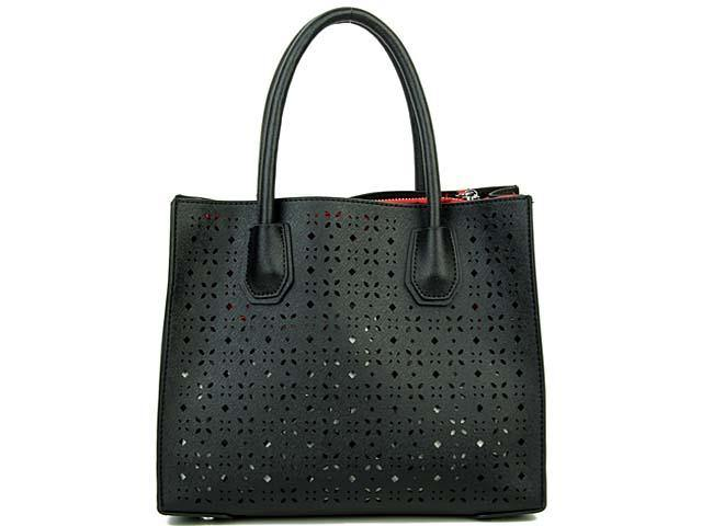 A-SHU BLACK MULTI-COMPARTMENT CUT OUT SYMMETRIC HANDBAG WITH LONG STRAP - A-SHU.CO.UK