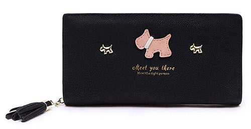 A-SHU BLACK MULTI-COMPARTMENT DOG PURSE WALLET WITH TASSEL - A-SHU.CO.UK