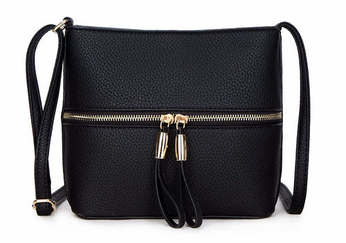 BLACK MULTI COMPARTMENT CROSSBODY BAG WITH LONG STRAP
