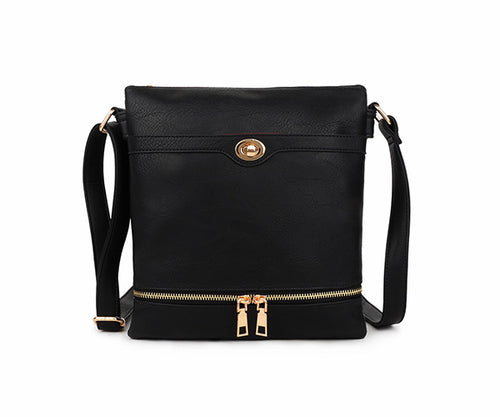 A-SHU BLACK MULTI COMPARTMENT OVER SHOULDER CROSS BODY BAG - A-SHU.CO.UK