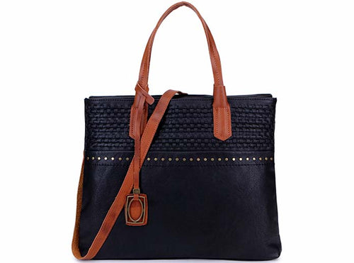 A-SHU BLACK MULTI COMPARTMENT TOTE BAG WITH WOVEN WEAVE DESIGN AND LONG STRAP - A-SHU.CO.UK