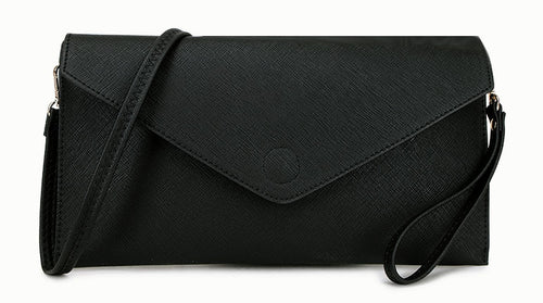 A-SHU BLACK OVER-SIZED ENVELOPE CLUTCH BAG WITH LONG CROSS BODY AND WRISTLET STRAPS - A-SHU.CO.UK