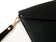 A-SHU BLACK OVER-SIZED ENVELOPE CLUTCH BAG WITH LONG CROSS BODY AND WRISTLET STRAP - A-SHU.CO.UK